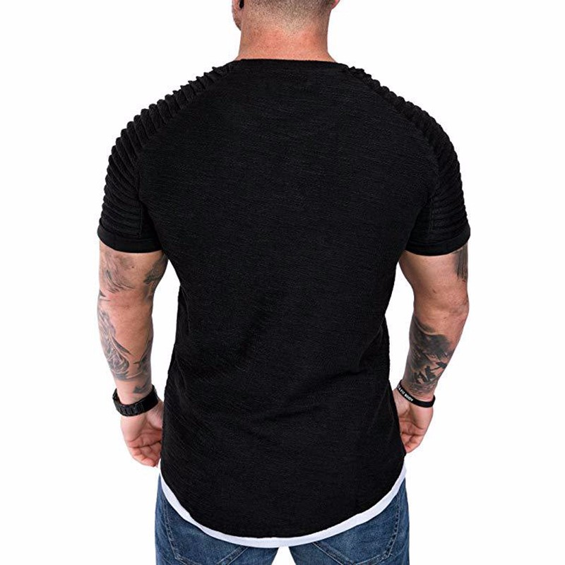 Men's Daily T-shirt Solid Colored Black Short Sleeve Tops Round Neck White Black Green Khaki / Sports T-Shirt