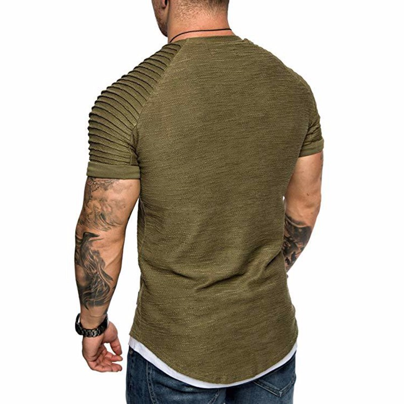 Men's Daily T-shirt Solid Colored Army Green Short Sleeve Top with Round Neck