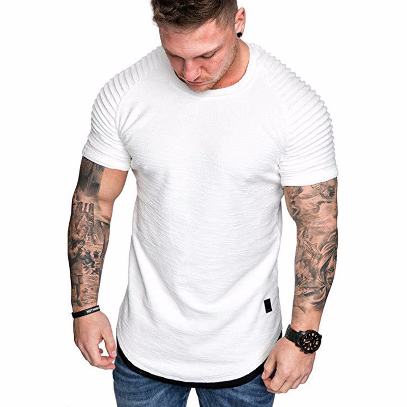 Men's Daily T-shirt Solid Colored White Short Sleeve Tops Round Neck White Black Green Khaki / Sports