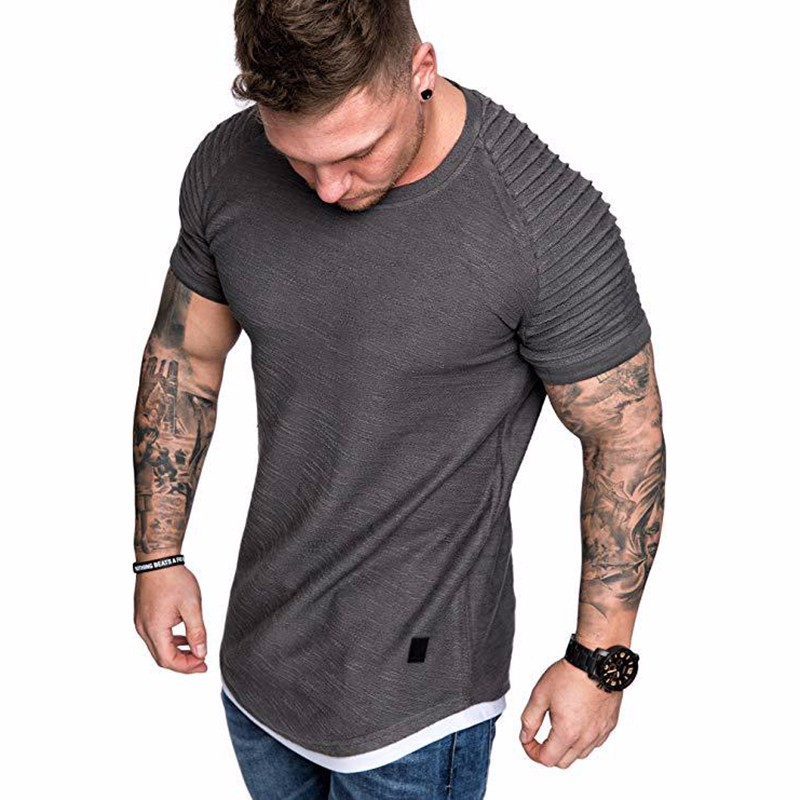 Men's Daily T-shirt Solid Colored Grey Short Sleeve Tops Round Neck White Black Green Khaki / Sports