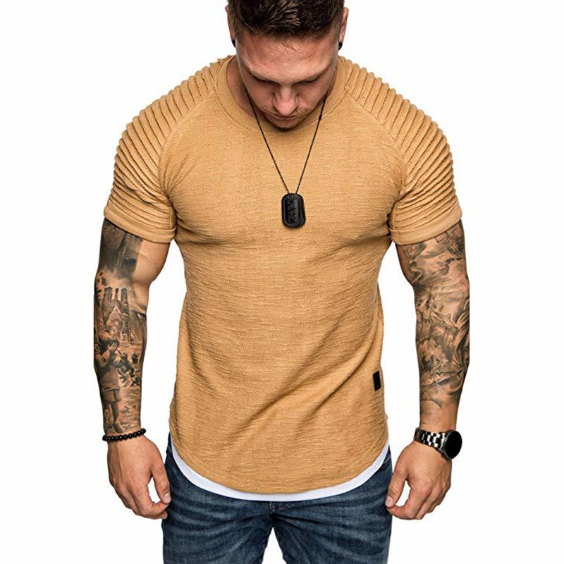 Men's Daily T-shirt Solid Colored Khaki Short Sleeve round neck Top